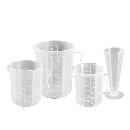 Laboratorio 100/300/600 / 1000ml de alta calidad de plástico transparente de la copa de medición de la copa de medición de la pote de vertido Herramienta de medición de cocción
