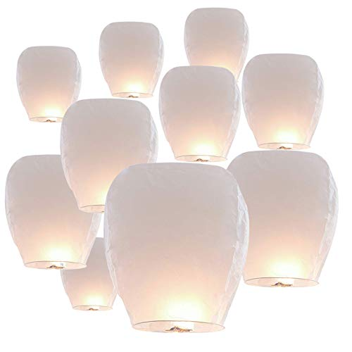 10 Pack Paper Chinese Lanterns, White Sky Lanterns, 100% Biodegradable Environmentally White Paper Lanterns for Summer Beach Visits,Weddings, Birthday Party, Event, Baby Shower, Decor,Hallowmas