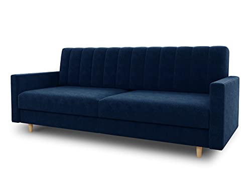 Schlafsofa Sara - Sofa mit Schlaffunktion und Bettkasten, Bettsofa mit Wellenfeder, Schlafcouch mit Holzfüße, Couch vom Hersteller, Couchgarnitur, Velours (Dunkelblau (Kronos 09))