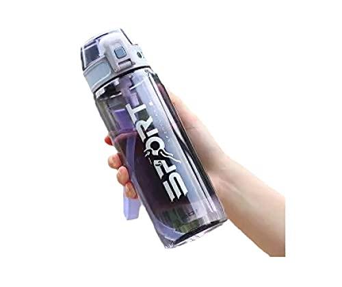 RYTR Botella de agua deportiva, botella de agua Tritan sin BPA/Copa de paja deportiva de verano fresco-morado_800ml/deportiva para gimnasio, entrenamiento, viajes, oficina.