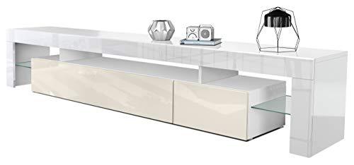 Mesa Baja para TV Lima V2, Cuerpo en Blanco de Alto Brillo/Frente en Crema de Alto Brillo