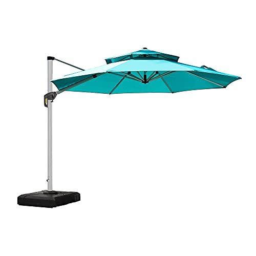 Cantilever Umbrella 10 ft Round Pool Deck Umbrella Outdoor Wind Resistant Offset Patio Umbrella, Turquoise Blue