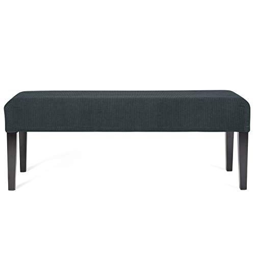 WOMACO Dining Bench Seat Cover Stretch Fabric Rectangle Table Bench Slipcover for Kitchen Piano Bench (Dark Gray, Medium)