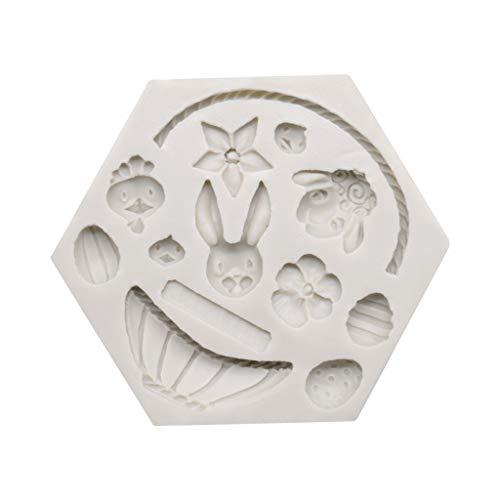 ZJL220 3D Cesto di Fiori Stampo per Dolci in Silicone Stampo per Uova di Pasqua Coniglietto Decorazione per Cioccolato