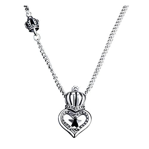 SMEJS 925 collar de plata esterlina corona en forma de corazón femenino simple personalidad colgante suéter cadena Retro