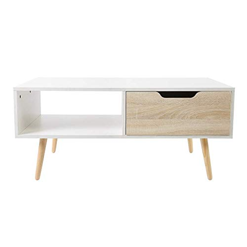 Mesa de café, mesa lateral de madera para sofá, mesa baja para TV, mesa de té, centro de audio, mesa de TV, armario con un solo cajón para sala de estar, oficina, color blanco, 100 x 50 x 43,9 cm