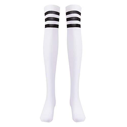 EZSTAX Medias de Rodilla para Mujer para Invierno Cálido Medias de Algodón Retro Calcetines Largos Overknee Calcetines Deportivos con Tres Rayas