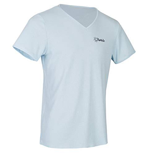 TanMeOn Durchbräunendes V-Ausschnitt Shirt für Herren, T-Shirt braun Werden, Farben: Weiss, Blau oder Grau, Größen: S, M, L, XL, XXL (Blau, S)