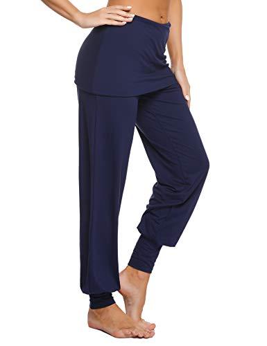 Sykooria Pantalones con Falda de Yoga para Mujer Pantalones Deportivos de Algodón Pantalon Harem de Anchos Cintura Alta Pilates Baile Fitness