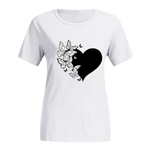 YANFANG Camisetas para Mujer, con Estampado de Mariposa con Cuello Redondo y Tallas Grandes Camisetas gráficas de Manga Corta con Estampado de Gato