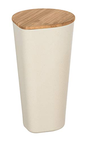 WENKO Aufbewahrungsdose Derry 1 l - Dose mit Bambusdeckel und Silikonring, luftdicht Fassungsvermögen: 1 l, Bambusfaser, 10.5 x 19.5 x 12 cm, Beige