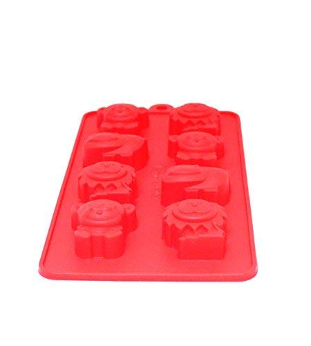 Silicone Bakeware Mold For cake chocolate Jelly Pudding Dessert Molds 8 Cavity Mold Red Safari Animals)