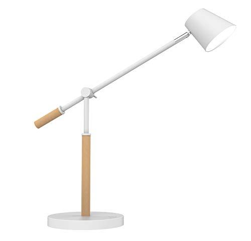Unilux LED Schreibtischlampe Vicky, skandinavisch, weiß mit Holz, dimmbar, mit USB Ladefunktion, 900lm, 3000K, 9W