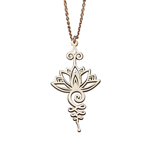 F Fityle Collar con Colgante de Flor de Loto, Delicado, Personalizado, Inspirador, medallones de Flores Huecas para familias, Collar con Grabado de mamá, Mes - Oro Rosa