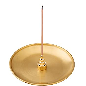 OIIKI 3 in 1 Stick Incense Burner 5.5 Inch Brass Incense Holder Alloy Cone Ash Catcher for Indoor Outdoor Use