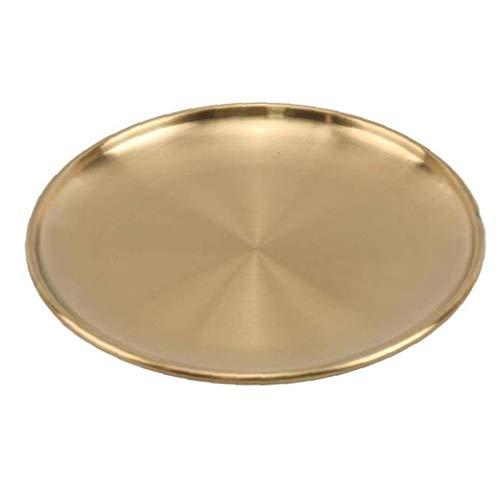 Odoukey Platte Speiseplatte Edelstahl Goldene Teller rundes Tablett European Style Ernährung Küchenhelfer Lagerung für Kuchen Western Steak Make-up Schmuck 20cm