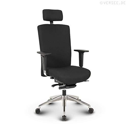 VERSEE Profi Bürostuhl Chefsessel - Terox - Stoff - schwarz - mit Kopfstütze, Drehstuhl, Bürodrehstuhl, Schreibtischstuhl, Chefstuhl, Ergonomisch, hochwertige Verarbeitung, 150 kg belastbar