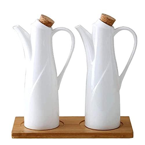 Olie Azijn Fles Pot Dispenser Keuken Keramiek Olijf Saus Dispenser Stofdicht En Lekvrij Houten Fles Dop Voorkomt Oxidatie 330ml Wit Marmer Patroon 2 Stuks Keukengerei