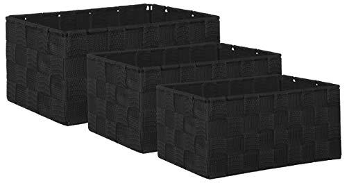 Brandsseller Aufbewahrungsbox Dekobox - Rattan-Optik - 3er-Set schwarz