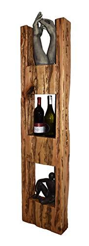 Wood & Wishes - Rustikales Wandregal, Wandboard, Standregal, Schweberegal aus Massivholz; gefertigt in Handarbeit mit 3 Ablagen; dekoratives Unikat; Treibholzoptik; HBT ca. 150 x 36 x 13 cm