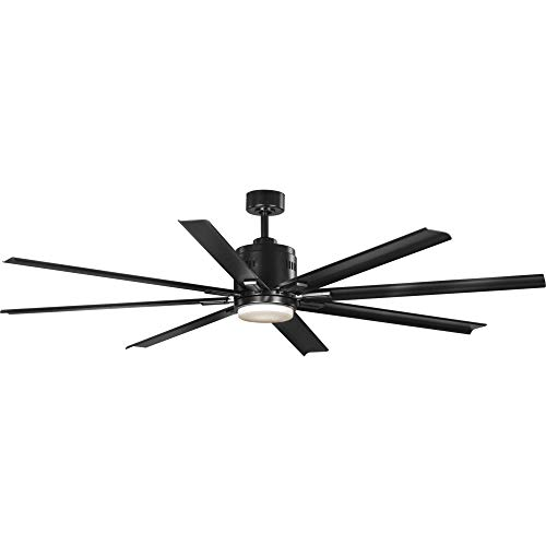 "Progress Lighting P2550-3130K Vast 72"" 18W LED 8-Blade Ceiling Fan, 16-3/4"" x 72"", Black Ceiling Fans"