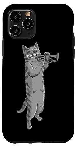 iPhone 11 Pro Funny Cat Playing Cornet   Cool Animal Wind Musician Gift Case