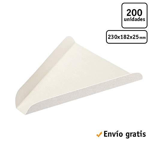 TELEVASO 200 uds - Cuñas/Bandeja/Soporte Triangular de cartón para Pizza - Plato de cartón desechable y reciclable Ideal para Servir Pizza en rebanadas