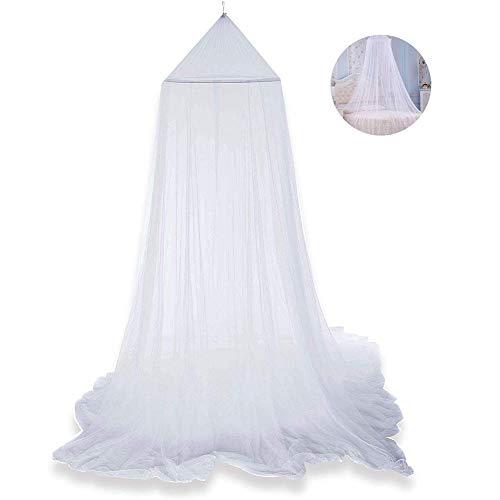 Mosquitera para cama, dosel de cama, cortinas de princesa, mosquitera de encaje, dosel para niños, protección contra moscas, interior y exterior, altura decorativa de 250 cm, color blanco