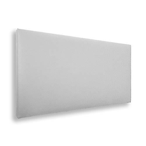 Silcar Home - Cabecero de Cama Tapizado en Polipiel Liso, Modelo Jep (Blanco, 115 cm) | Cabecero Acolchado | Cabezal Tapizado | TNT Transpirable | Cabecero Original | Transporte Incluido