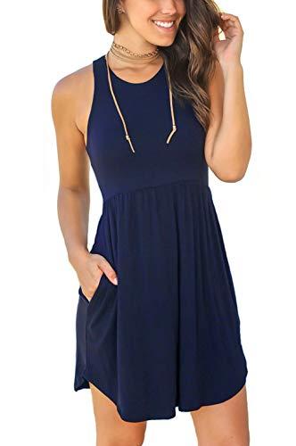 Unbranded Women's Sleeveless Loose Plain Dresses Casual Short Dress with Pockets Medium, 03 Navy Blue