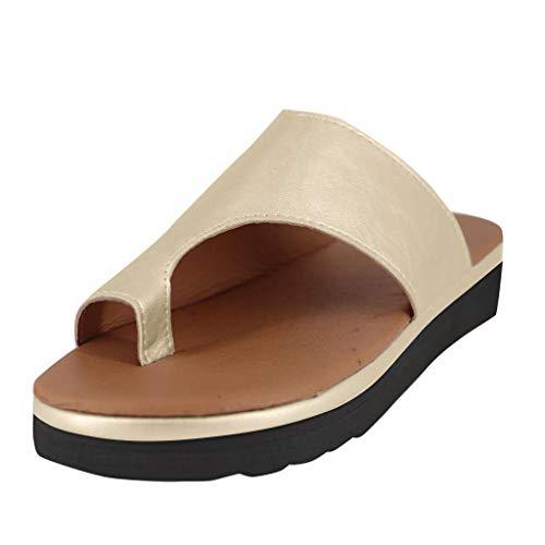 SANFASHION Damen Sandalen Bequeme Plattform Pantoletten Zehentrenner Hausschuhe Sommer Strand Reise Schuhe Flach Flip Flops