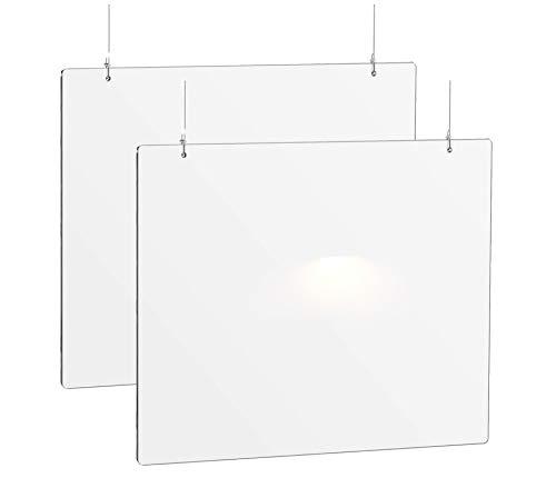 Pack (2) Mamparas Colgante 80 cm de ancho x 60 cm alto, incluye kit de montaje, 3 mm de grosor, metacrilato color transparente
