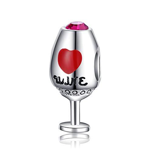 ENYU Mujer Charm Abalorio de Plata con diseño de Wine Glass de arcoíris, Pandora Joyería Niña/Dijes Pulseras Accesorios