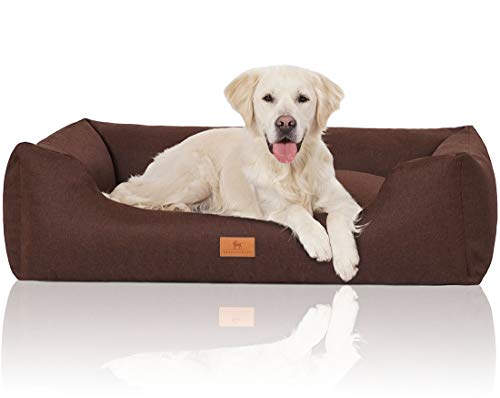 Knuffelwuff 14097-011 Hundebett Hundekörbchen Hundesofa Hundekissen Hundekorb Bezug Waschbar Lotte Xl Braun