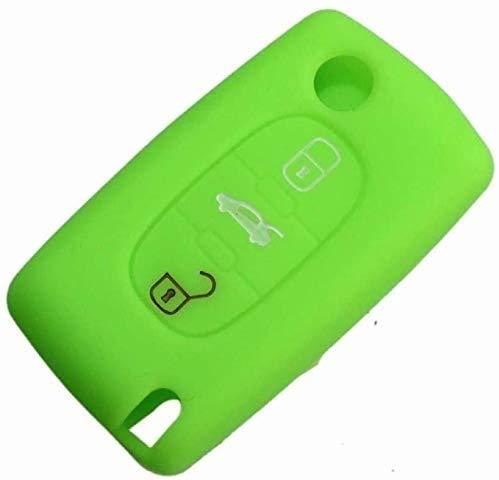 WASHULI Clave de automóvil Proteger Cubierta Cubierta Coche Silicona Tecla remota Fob Cubierta 3 Botones Key Peugeot 407 307 107 207 607 3008 RCZ 508 Caso (Color : Green)