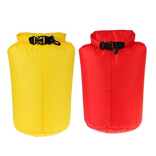 SM SunniMix Bolsa Seca Impermeable 5L para Kayak Rafting Amarillo + Rojo