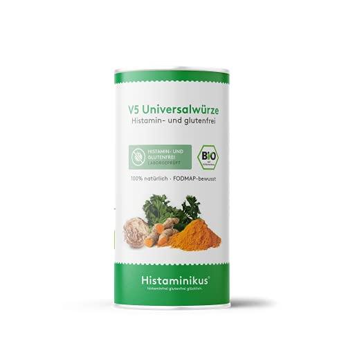 Histaminikus V5 Universalwürze, Bio Gewürzmischung 120g, hoher Gemüseanteil, hefefreies Naturprodukt ohne Geschmacksverstärker, histaminfrei, fodmap-bewusst, vegan und geeignet bei Histaminintoleranz