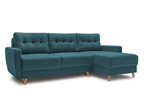 Canapé d'angle Bleu Tissu Scandinave