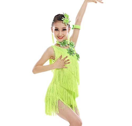 ZYLL Lateinamerikanisches Tanzkleid mit Fransen für Kinder Girls Kinder Mädchen Pailletten Latin Tango Ballsaal Quaste Rock Latin Kostüm Tanzkostümwettbewerb,Green,150CM