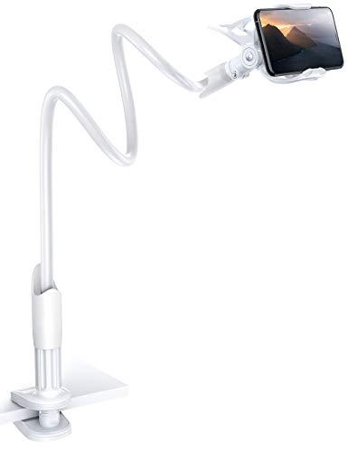 Lamicall Handy Halter für Bett, Schwanenhals Handy Halterung - Flexible Lang Arm Handy Ständer für iPhone 12 Mini, 12 Pro Max, 11 Pro XS Max XR X 8 7 6S, Samsung S10 S9 S8, 4-6,5 Zoll Smartphone -Weiß