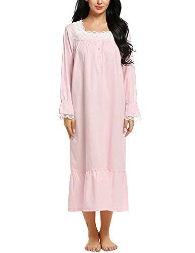 ADOME Damen Nachthemd Langarm Schlafkleid Einteiliger Schlafanzug Vintage Nightdress Sleepwear Pyjama Schwangere & Mutter Nachtwäsche, Rosa, S