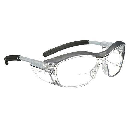 3M Safety Glasses with Readers, Nuvo Protective Eyewear, +1.5, ANSI Z87, Clear Lens, Retro Gray Frame, Soft Nose Bridge, Side Shields
