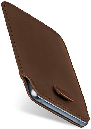moex Slide Hülle für CAT S60 - Hülle zum Reinstecken, Etui Handytasche mit Ausziehhilfe, dünne Handyhülle aus edlem PU Leder - Braun