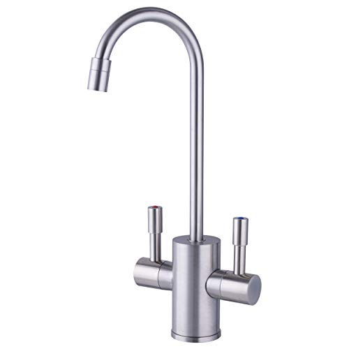 Ready Hot RH-F560-BN Faucet Only for Instant Hot Tank, Insulated, Safety Lock on Handle, Lead Free, Dual Lever Hot & Cold Water, Brushed Nickel Finish