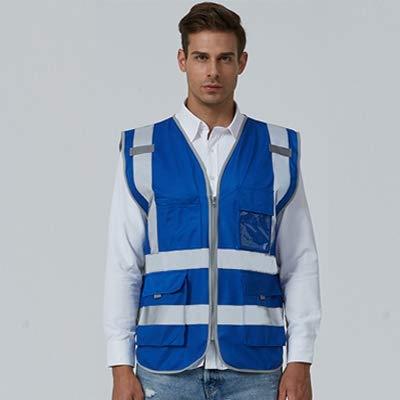 Luoshan Multi-Taschen Sicherheitsweste Reflektierende Arbeitskleidung, Größe: XL-Brust 124cm (Schwarz) (Color : Blue)