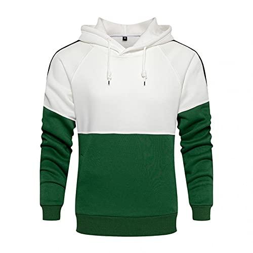 Gillberry Mens Hoodie Shirt - Long Sleeve Sweatshirt Hoodies Pullover - Color Block Slim Fit Active Streetwear Tops Tee Green