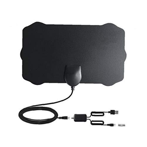 EElabper Antena de TV Digital HDTV Cubierta Amplified Antenas TDT Arial 980 Millas de Alcance presión de la señal del Amplificador para los Canales Locales Negro