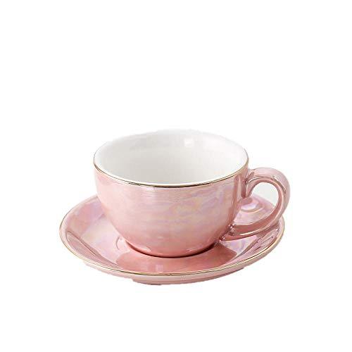 Taza de café de cerámica europea creativo alambre de oro perla esmalte taza de café juego de platos café familiar regalo divertido-rosa-220 ml