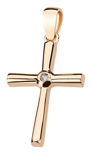 Ardeo Aurum Damen Kreuz-Anhänger aus 333 Gold Rosegold mit Zirkonia im Brillant-Schliff Kruzifix