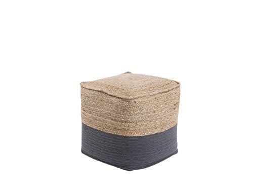 Beliani Boho Pouf Baumwolle Jute quadratisch beige/rdunkelgrau Kirama